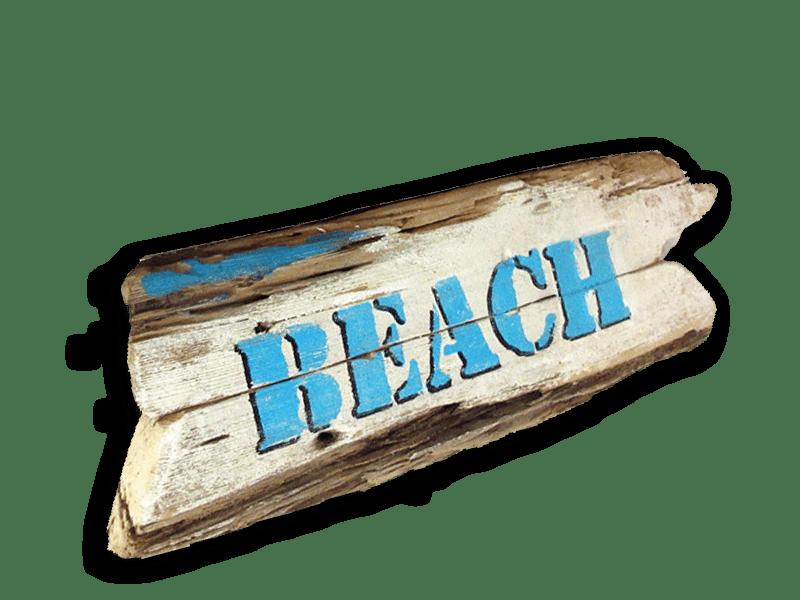 Holzschild Beach von Shabby Surf Art
