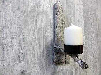 Kerzenhalter aus Treibholz, magnetisch