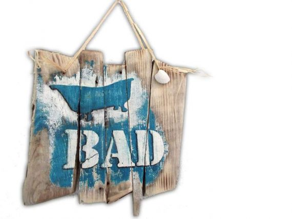 "Holzschild ""Bad"" von Shabby Surf Art im Vintage-Look"