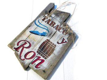 """Holzschild """"Tabaco y Ron"""" von Shabby Surf Art im Vintage-Look"""