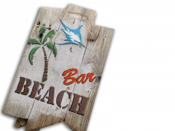 Holzschild Beach Bar von Shabby Surf Art