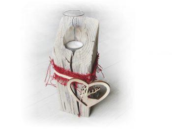 Windlicht (Adventsgesteck) aus Treibholz