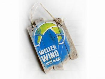 """Treibholzschild """"Wellen, Wind ...und weg!"""" für Kiter"""