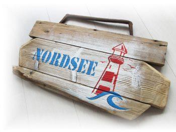 Holzschild Nordsee aus Treibholz von Shabby Surf Art